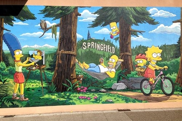 Downtown Springfield Simpsons Mural
